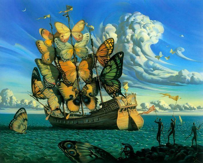 Partida do Navio Alado - Vladimir Kush