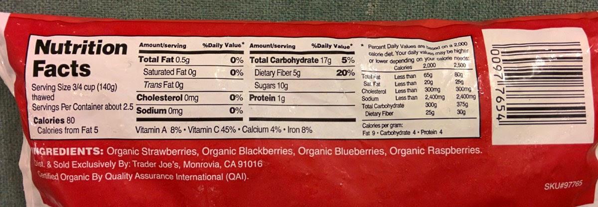 Trader Joe's Nutrition Labels: Trader Joe's Organic Mixed Berry Blend