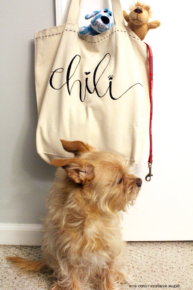 hand lettered tote bag, hand lettering, puppy love, personalized tote