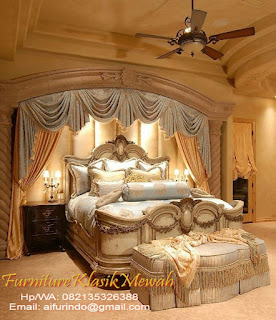 toko mebel jati klasik-jual bed room set klasik jati ukir jepara cat duco mewah-toko jati-furniture klasik mewah