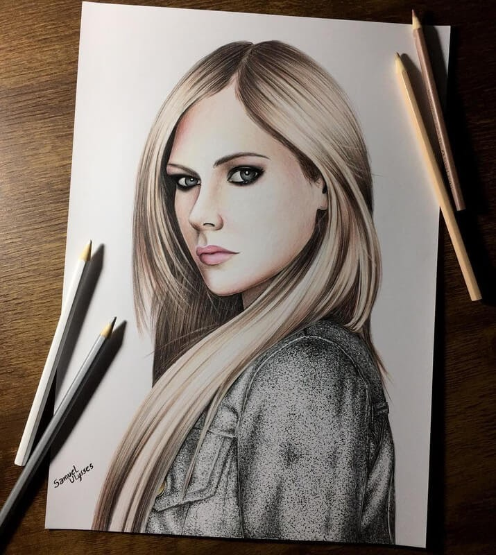 07-Avril-Lavigne-Samuel-Ulysses-Celebrity-Portraits-in-Pencil-www-designstack-co