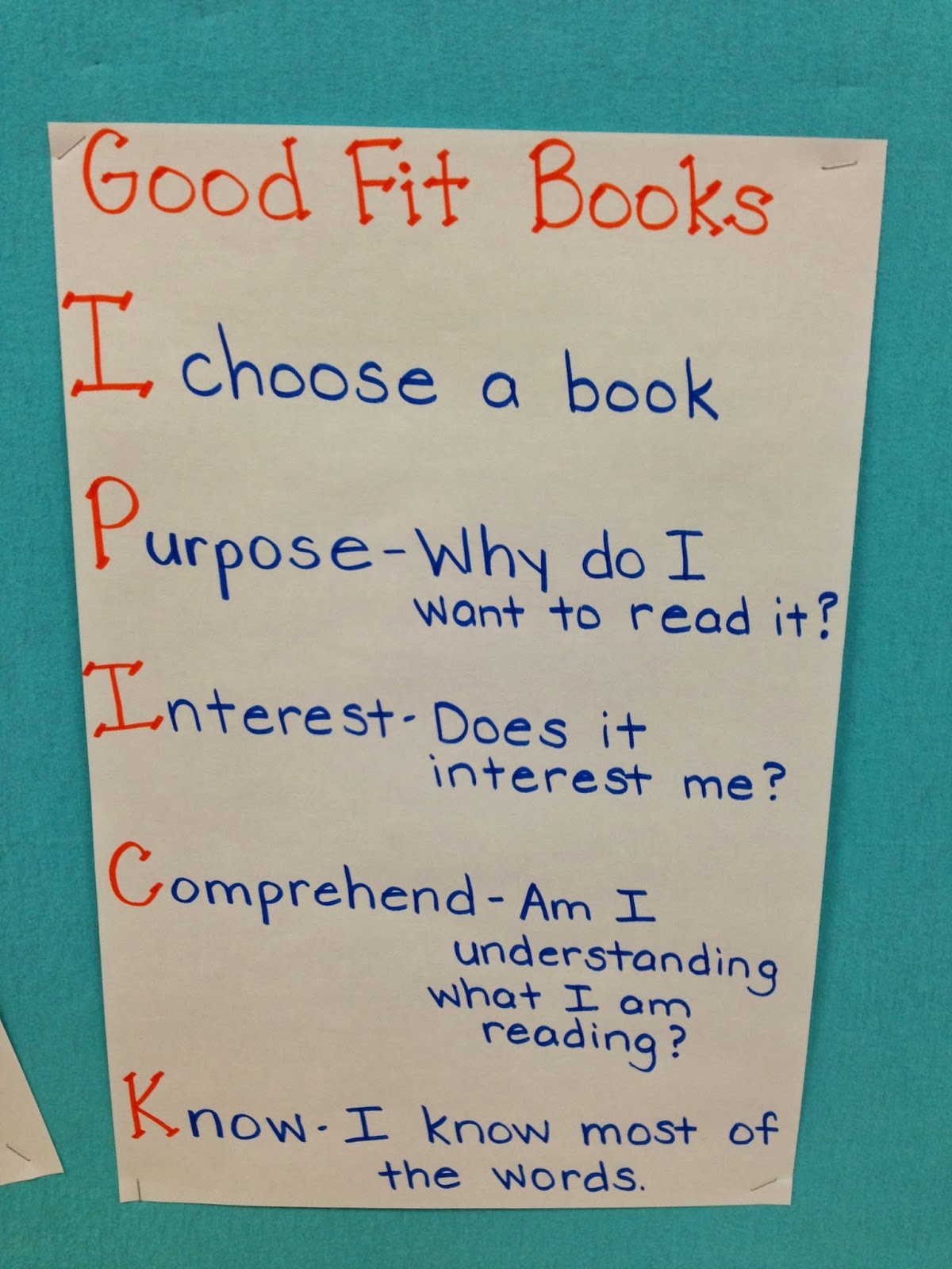 We can use the anchor chart above to remind us how choose  good fit book that is just right for read also mrs weegar   first grade self rh weegarworldspot