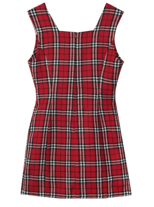 Check Square Neck Sleeveless Dress