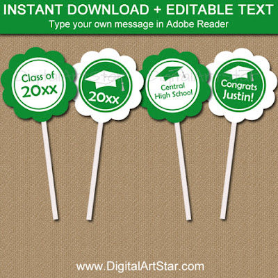 graduation cupacke toppers printable pdf file kelly green and white with editable text