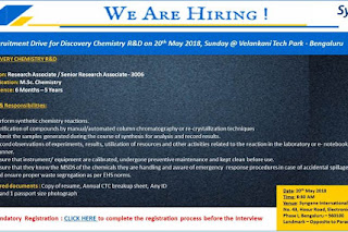 Great Opportunity@ Syngene International LTD in Discovery Chemistry R&D  At 20 May