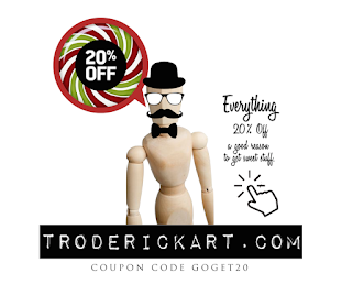save 20% on everything coupon code GOGET20 www.troderickart.com