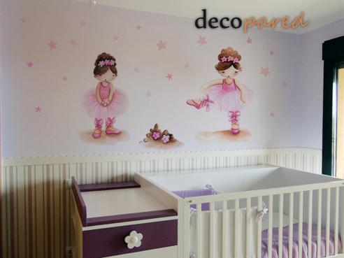 Decopared Vinilos Pintados De Bailarinas - Dibujos-pared-infantil