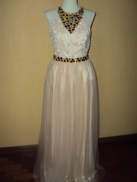 Mariléia: vestido tule ilusion todo bordado em pérolas de