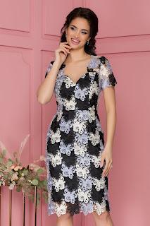 Rochie Adelina din broderie florala cu maneci scurte