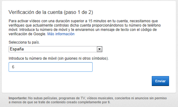 subir videos de mas de 15 minutos a youtube