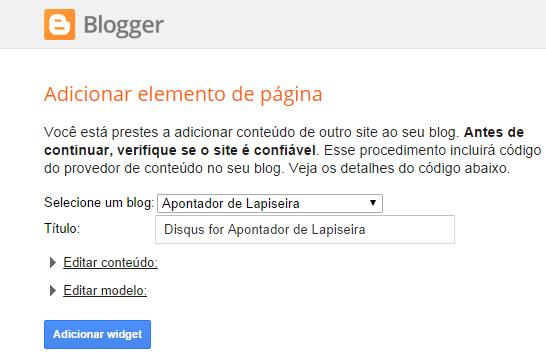 Ao clicar em adicionar widget um novo gadget irá ser acrescentado na página layout