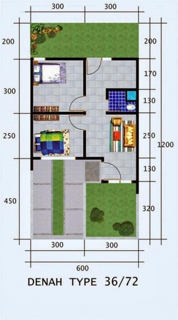 contoh gambar denah rumah minimalis type 36 3