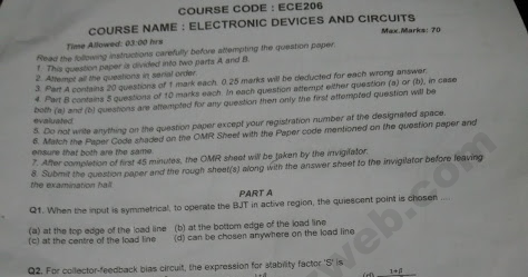 ECE 206 Electronics Devices and Circuits End Term Question