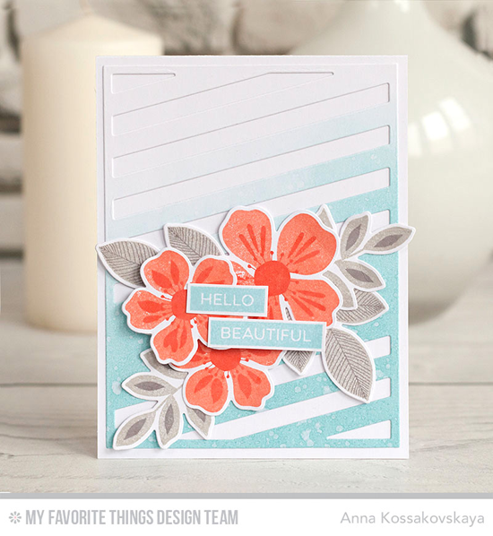 Handmade card from Anna Kossakovskaya featuring Label Maker Love stamp set, Flashy Florals stamp set and Die-namics, and Diagonal Sentiment Strip Cover-Up Die-namics #mftstamps