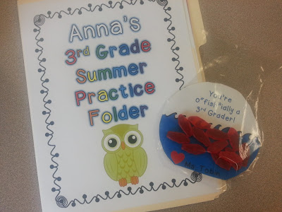 send-home folders for students to work on over the summer- prevent the summer slide