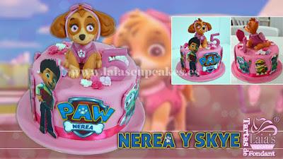tarta personalizada de fondant modelado skye patrulla canina paw patrol laia's cupcakes puerto sagunto