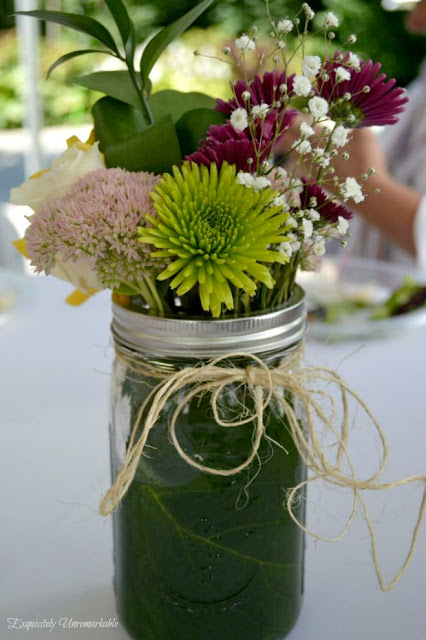 Mason Jar Lined With Hydrangea Leaf