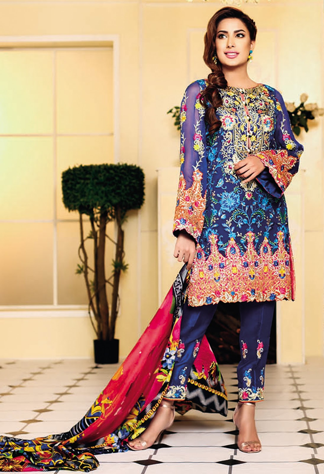 Fashion style Ansari Nomi floral lawn prints collection for lady