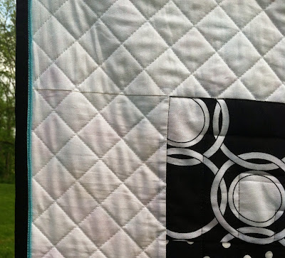 Black and White Charm Quilt, Flange Machine Binding