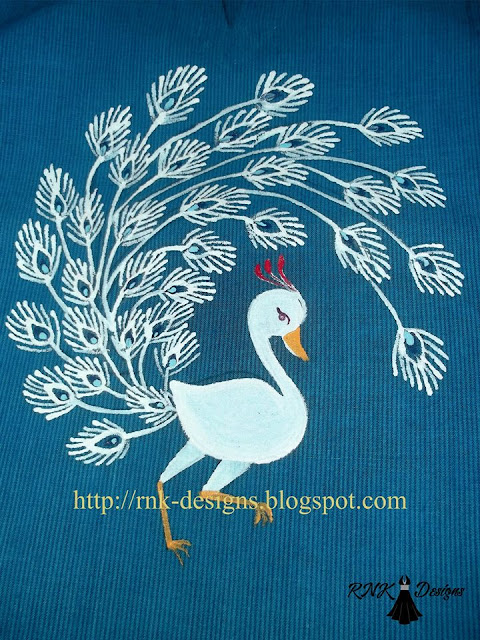 White Peacock painted on kurta.