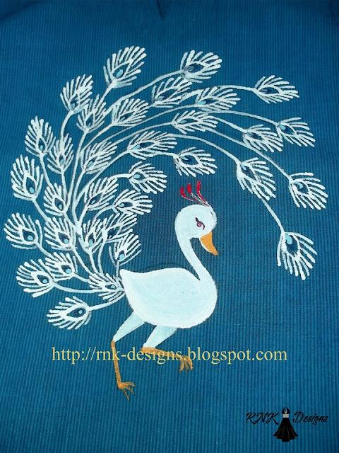 White Peacock painted on kurta.