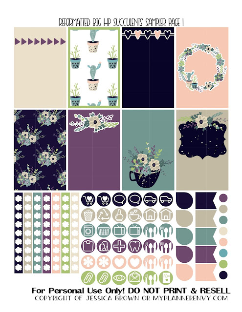 Free Printable Reformatted Succulents Sampler Page 1 for the Original Stay Golden Big Happy Planner from myplannerenvy.com