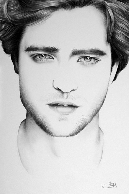 15-Robert-Pattinson-Ileana-Hunter-Celebrity-Black-and-White-Stylish-Drawing-Portraits-www-designstack-co