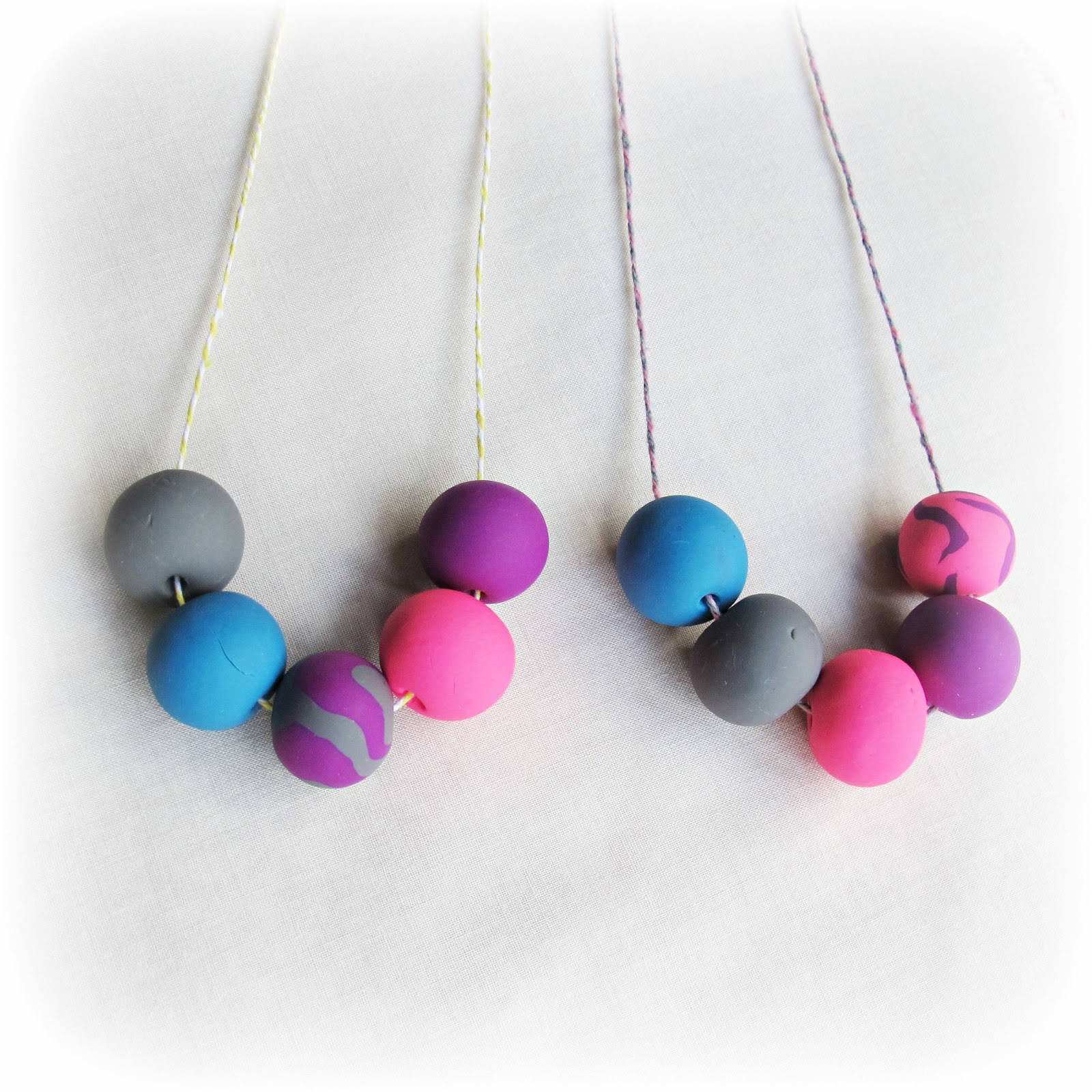 image gumball necklace polymer clay sculpey pink purple grey blue baker's twine tutorial diy
