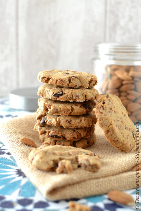 Cookies à l'okara d'amande, abricots secs et pépites de chocolat noir