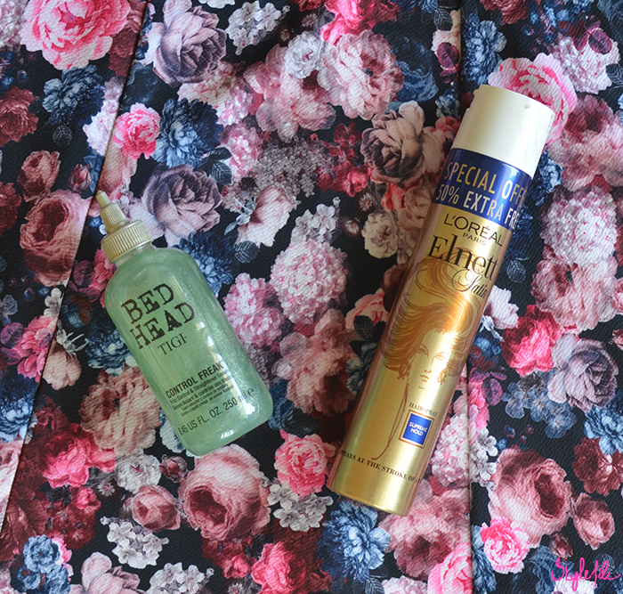 Review of my favorite makeup products and beauty products of which the BedHead by TIGI Control Freak hair serum and L'Oreal Elnett Satin hair spray are my favorite hairstyling and hair care products