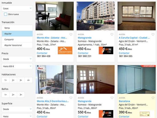 cercare un appartamento in affitto alla Coruña nei portali web
