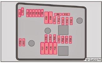 skoda octavia 2011 - schematic representation of fuse carrier in engine  compartment