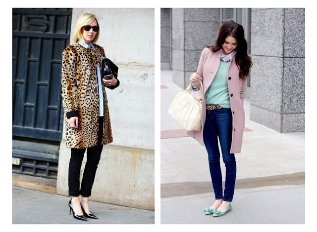 Пальто и ремень с леопардовым принтом в сочетании с пастельными цветами
