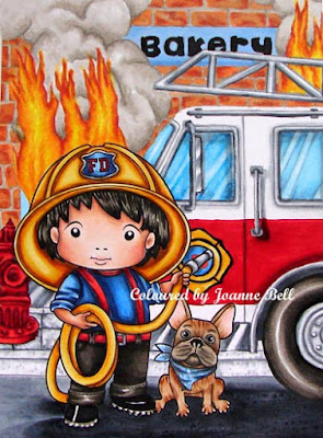 colouring of fireman Luka with firetruck and bakery fire background