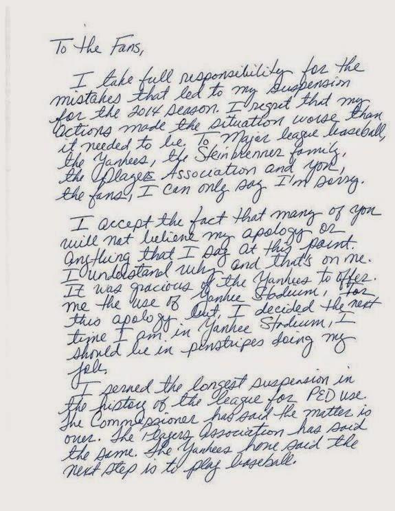 Masshole Sports: A-Rod Wrote A Handwritten Letter