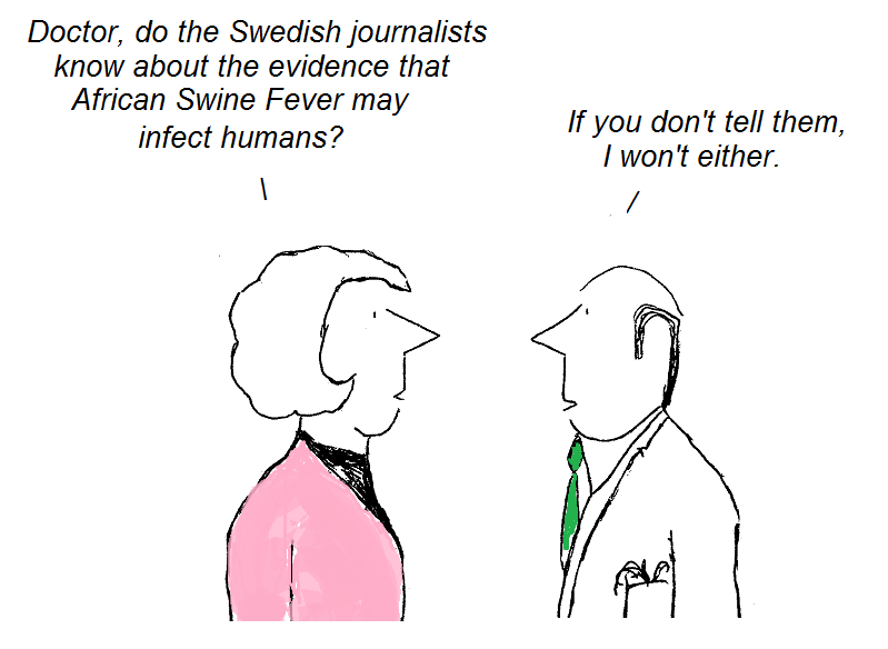 cartoon, Sweden, human infection, asfv, african swine fever
