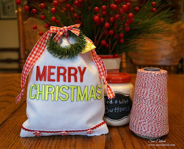 merry christmas gift bag joy embroidered letters