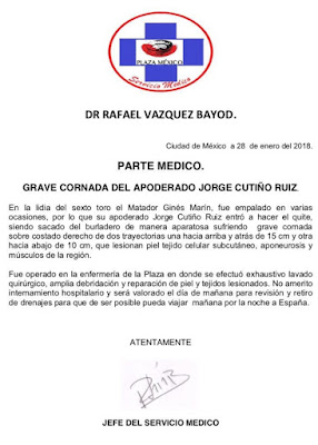 parte medico, cornadas, cogidas, cirugia taurina, servicio medico de la plaza mexico