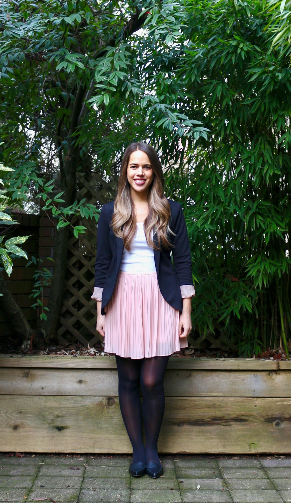 Jules in Flats - Pleated Mini Skirt with Blazer (Business Casual Winter Workwear on a Budget)