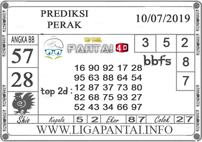 """PREDIKSI TOGEL """"PERAK"""" PANTAI4D 10 JULI 2019"""