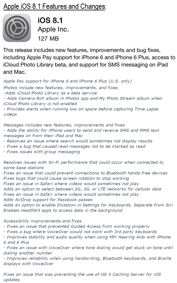 Apple iOS 8.1 Features and Changes