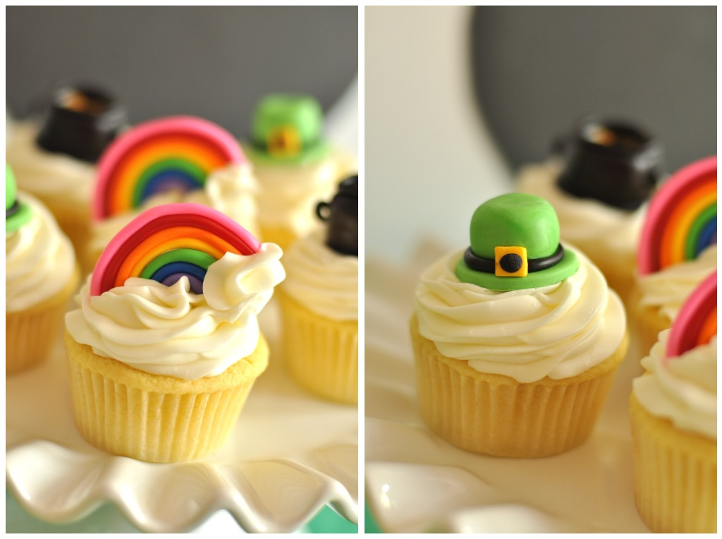 St Patrick's Day Rainbow Inspired Party Cupcakes - via BirdsParty.com