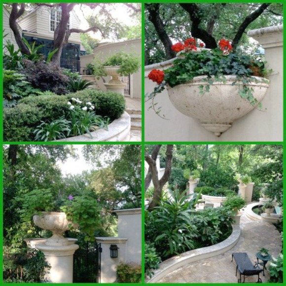 Austin TX gardens featuring terraced landscaping and lush plantings.