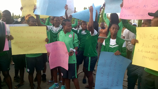 Photos From Super Falcons' Protest To National Assembly Over Unpaid Allowances