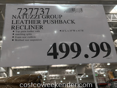 Deal for the Natuzzi Group Leather Push-back Recliner Chair at Costco