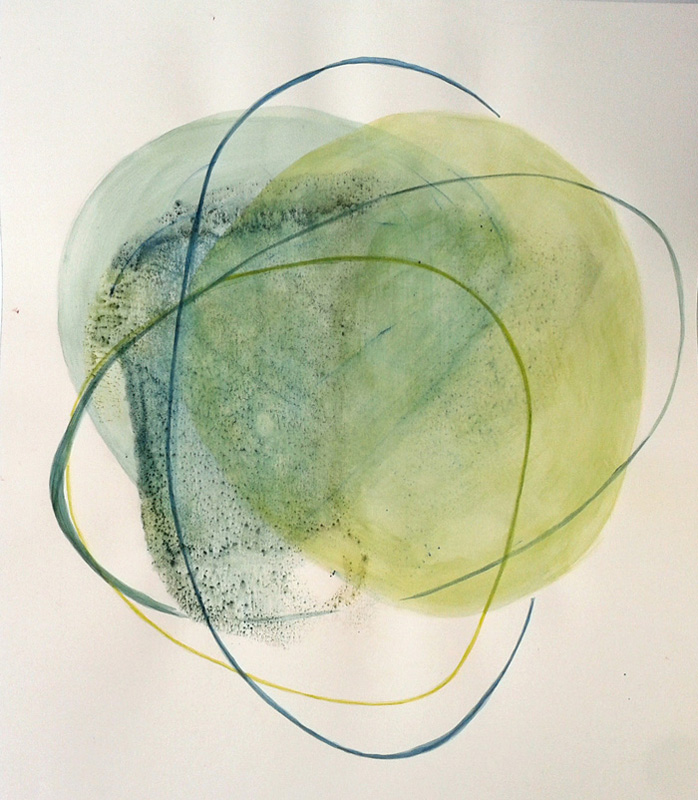 abstract conceptual watercolor diptych painting green yellow delicate minimal pastel, dyad, triad
