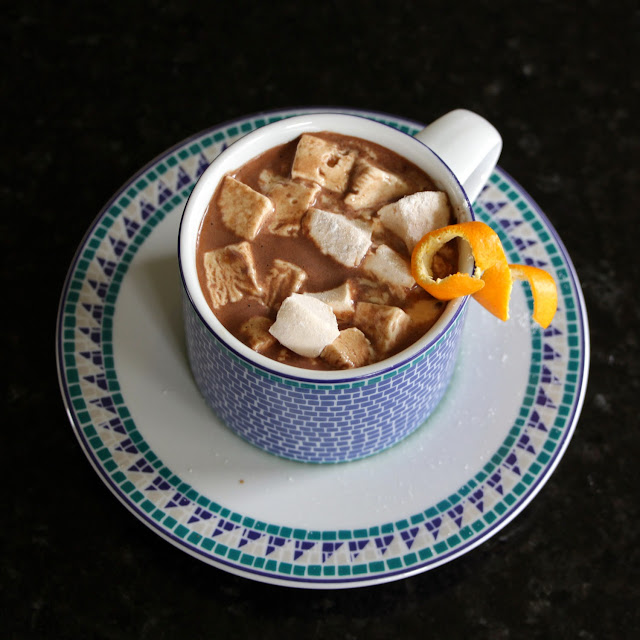 Hot Chocolate topped with Satsuma Orange Mini-Marshmallows