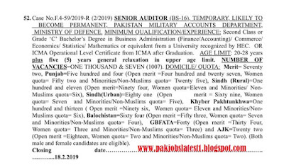 Latest FPSC Has Announced 1007 Job Of Senior Auditor (BS-16) Last Date 18 Feb 2019