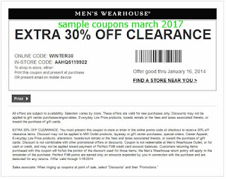 Men's Wearhouse coupons march