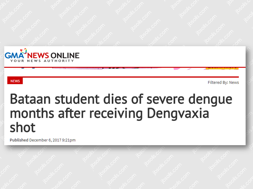 "After the expose of the controversy on the questionable effect of Dengvaxia, victims started to surface attesting to the adverse effect of the vaccine and some children has actually died. In October last year, a Grade 5 student in Mariveles, Bataan, died of severe dengue, months after receiving a shot of Dengvaxia.  Read: More than 700 Filipino children at risk after receiving anti-dengue vaccine.  Christine Mae de Guzman, who had no previous history of dengue, developed severe headache and fever on October 11, was rushed to the Bataan General Hospital on October 14, and died on October 15. She received the first Dengvaxia shot in April.  The Sisiman Elementary School student's death certificate stated that she died due to disseminated intravascular coagulopathy and severe dengue.  De Guzman's parents, Marivic and Nelson, who believe her condition was caused by the vaccine, are hoping for justice, especially after Sanofi Pasteur, Dengvaxia's manufacturer, admitted that the vaccine may aggravate the disease in people who have not been afflicted previously by dengue.  ""Sana po magkaroon ng hustisya sa pagkamatay ng anak ko,"" Marivic said. ""'Di naman po kasi masakitin 'yung anak ko. First time po niyang magkasakit ng ganun tapos dire-diretso po.""  The report said Marivic and Nelson signed a parental consent form before their daughter was given the anti-dengue vaccination.  The Volunteers Against Crime and Corruption (VACC) will present De Guzman's death in the class action lawsuit it hopes to file against those involved on the controversial P3.5-billion dengue vaccination program of the Department of Health (DOH).  Prior to De Guzman's case, the death of an 11-year-old student who supposedly died after receiving the anti-dengue vaccine was brought up in a Senate blue ribbon committee investigation on the program in 2016.  Meanwhile, student Amy Tamayo from Tarlac reportedly contracted dengue despite receiving her third dose of Dengvaxia last August.{INSERT 2-3 PARAGRAPHS OR 3 IMAGES HERE} Sponsored Links {INSERT 2-3 PARAGRAPHS HERE}    ""Sa DOH naman po, sana naman po sa nangyari sa apo ko, naging leksyon na dapat po hindi basta-basta gumagawa ng mga ganito siguro,"" Amalia, Amy's grandmother, said.  The consent form shown by Amalia Tamayo only informed the parent of the free vaccination and none of the possible side effects of the dengue vaccine.  Health Secretary Francisco Duque III said this case puts to question the efficacy of Dengvaxia, which promised to give protection against dengue in the first 30 months.  ""Well, lumalabas na hindi 30 months. Wala namang testing ginawa. Bago ito binigay, wala namang ginawang test to look for antibodies na magpapatunay na nagkaroon ng infection. Wala namang ganun, or failure ng vaccine itself na hindi nakapagbigay ng protection,"" he said.  The DOH, which suspended the vaccination program, has started monitoring all students in Bataan and other regions who were given Dengvaxia. Source: GMA News    Advertisement Read More:"
